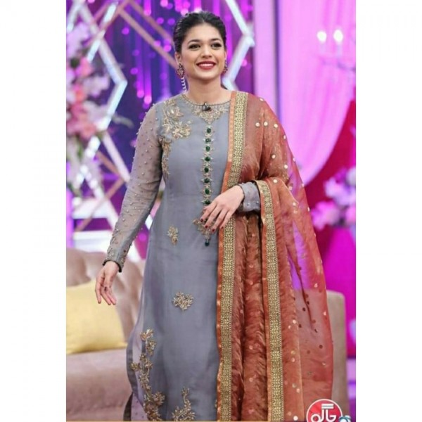 Embroidered maysori stylish collection with satin silk trouser