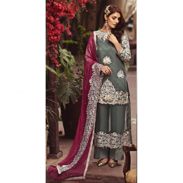 Stylish Embroidered collection In grey color chiffon Embroidered  shirt with satin silk trouser