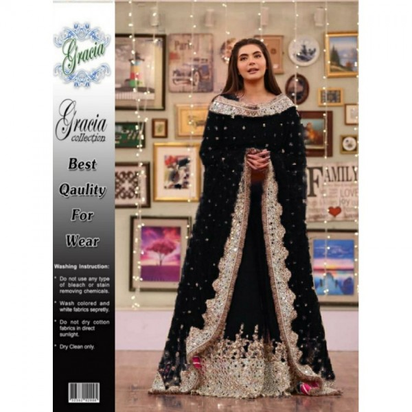 Black Chiffon Party and Wedding Wear for Women