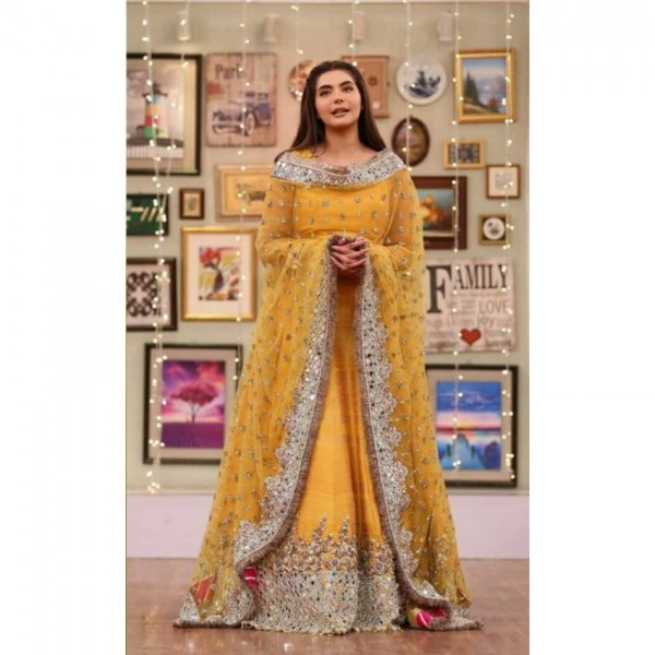 Stylish wedding collection chiffon embroidered  mirror work shirt and net duppata with plain trouser
