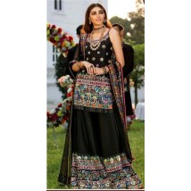 Beautiful Black Embroidered Dress With Mirror Work