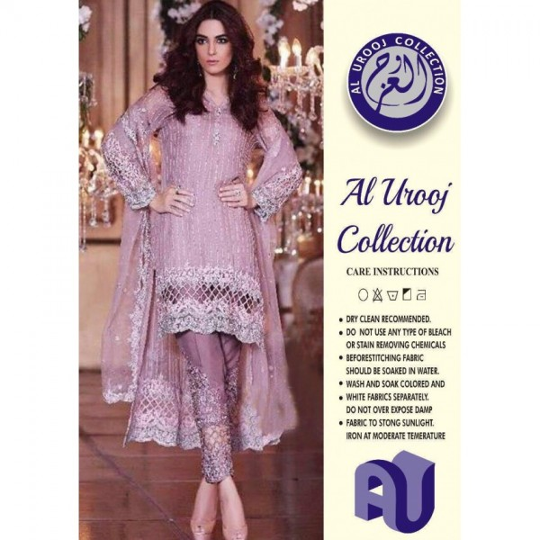 Elegant Embroidered Chiffon Dress in Tea Pink colour with net dopatta LB-09