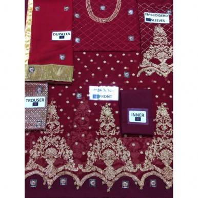 RED FULL EMBROIDERED  CHIFFON SUIT
