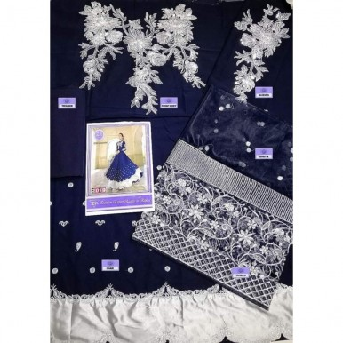 Blue colour Sequence n zari embroidery dress for her