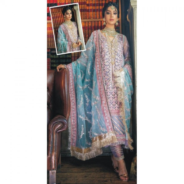 Heavy Net Embroidered Dress With Net Embroidered Dupatta