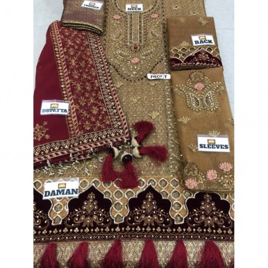 New Collection desgin Fully Embroidered With Handwork with jamawar trouser