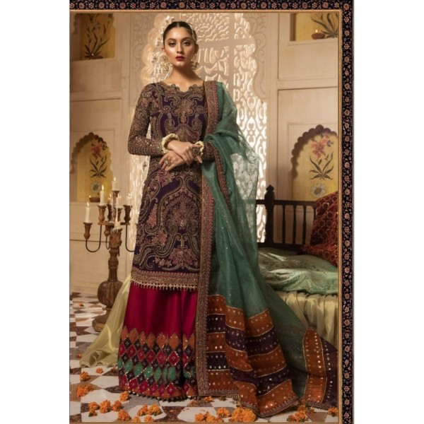BRIDAL COLLECTION CHIFFON EMBROIDERED DRESS
