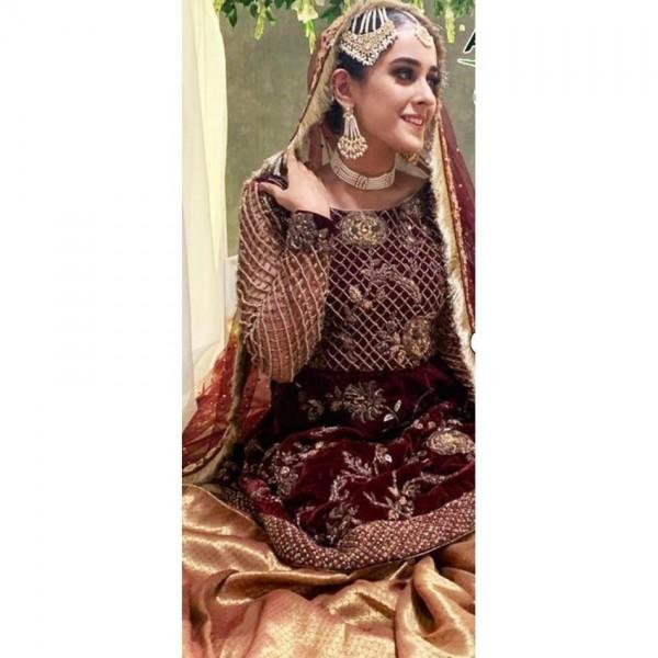 Bridal Style velvet Embroidered Heavy Dress