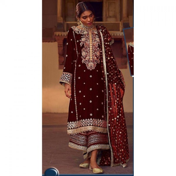 Maroon Color Heavy Embroidered Dress for Winter Weddings