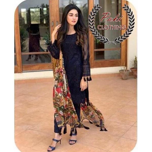 Embroidered chiffon Dress with silk Dupatta