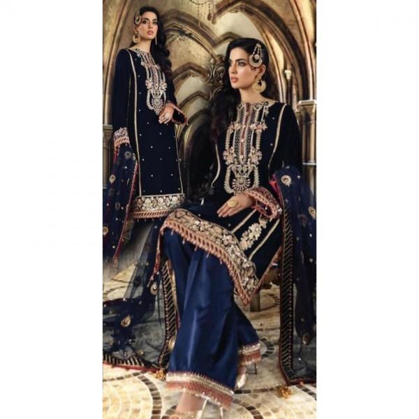 Heavy Embroidered Velvet Dress in Blue Color