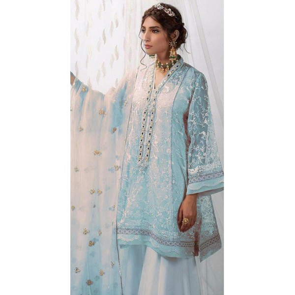 Skyblue Embroidered Dress for Her