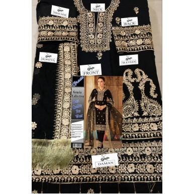 Black Chiffon haevy embroidred dress for women