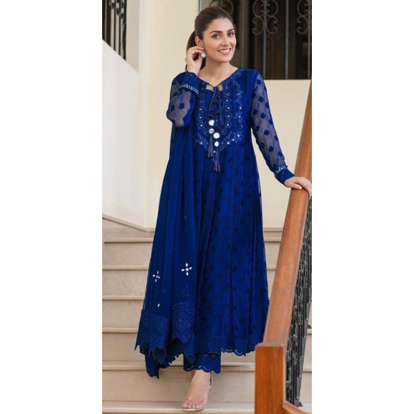 Party wear Embroidered Dress with Mirror work in different colors