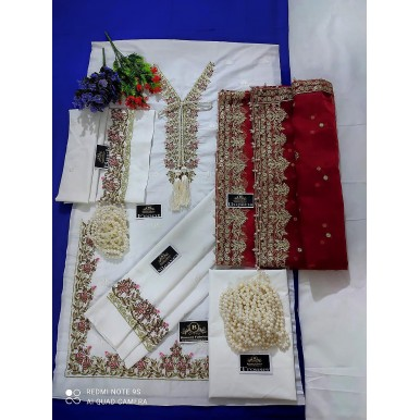 Party Wear Fancy Embroidered collection in White and Red color