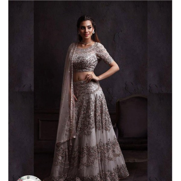 Party Wear Fancy Embroidered Collection In Gray Color