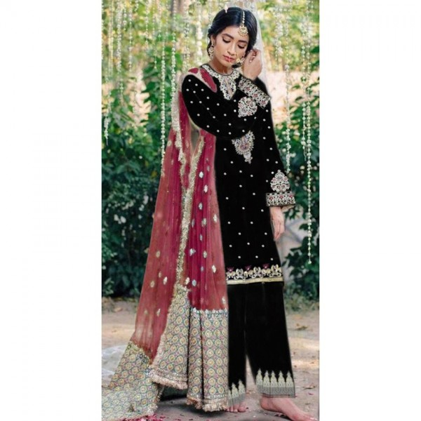 Black Color Embroidered Dress with Maroon Dopatta