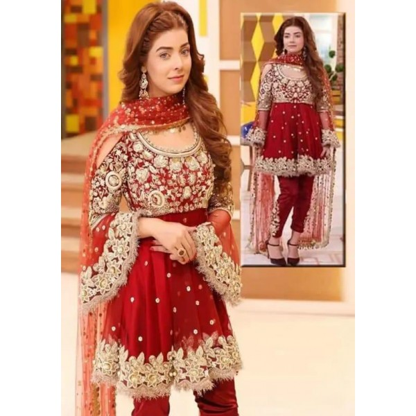 Red Colour Frock Style Dress for Girls