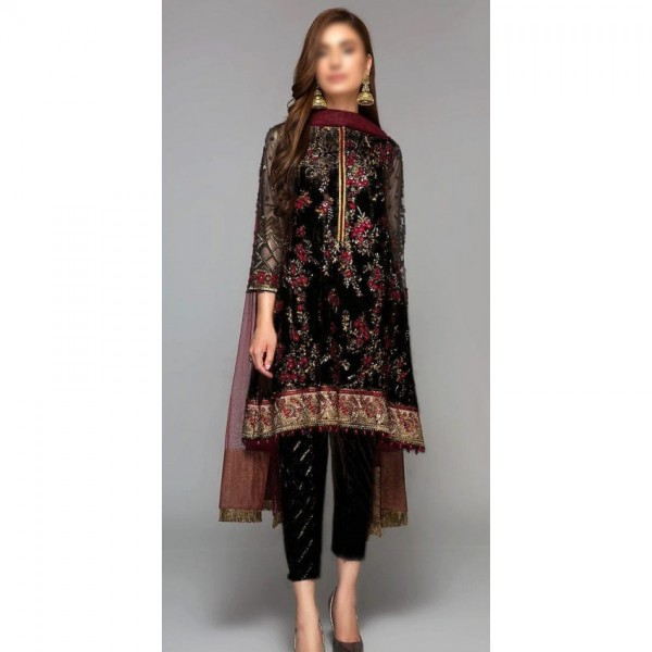 Party Wear Chiffon Embroidered Dress in Black Color