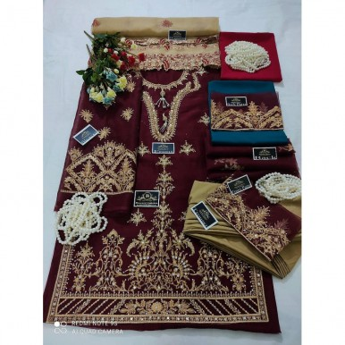 Party wear Embroidered Dress in Maroon Color