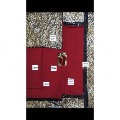 Red Embroidered Chiffon Saree
