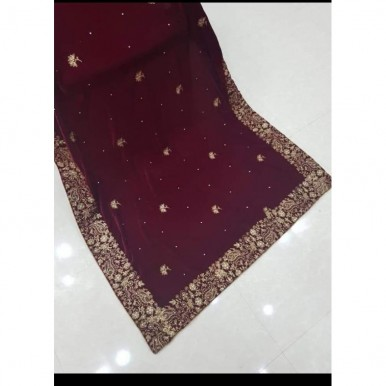 Velvet Shawl with Embroidery - Available in Different Colors