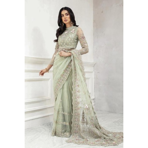 Light color heavy embroired saree new arrival 2021