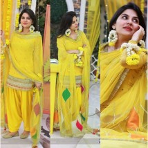 Mehndi and Mayo Dress in Yellow Colour with gotta work