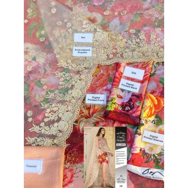Silk Dress with Net Embroidered Dopatta
