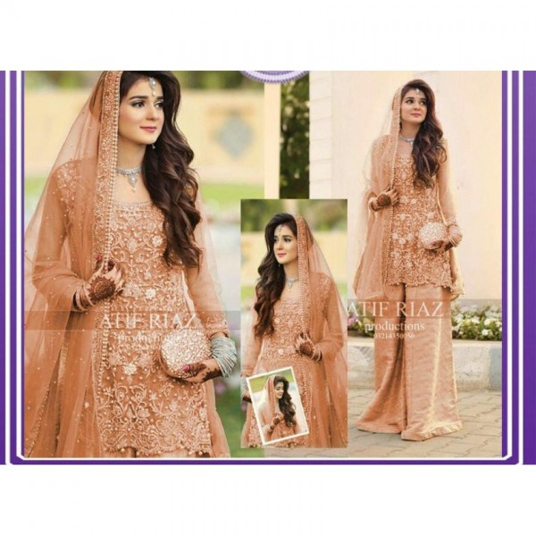 Net embroidery suit and duppata with Jamawar Trouser