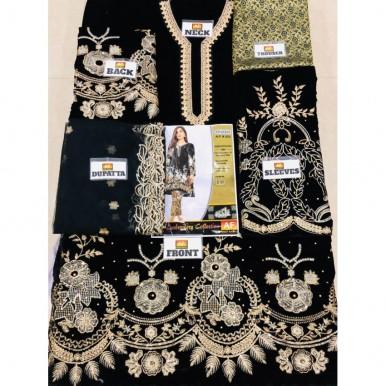 Black Color Luxury Velvet Embroidered Dress