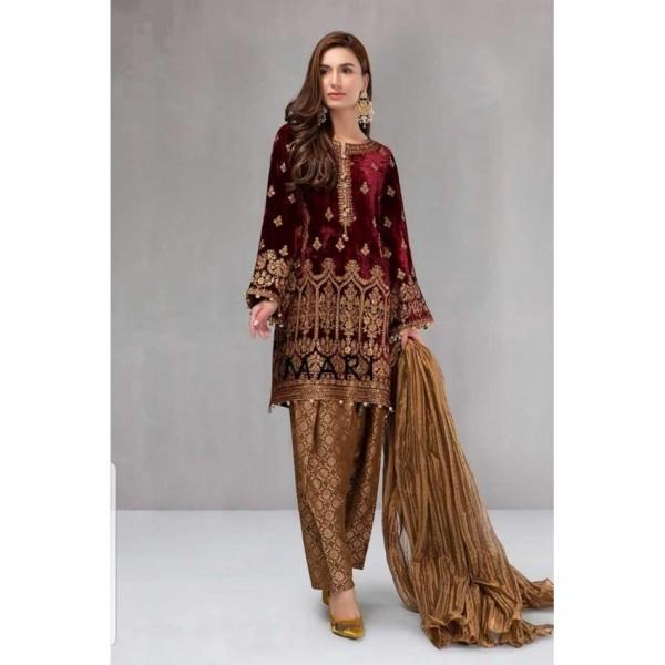 Maroon Velvet Bridal Embroidery Suit