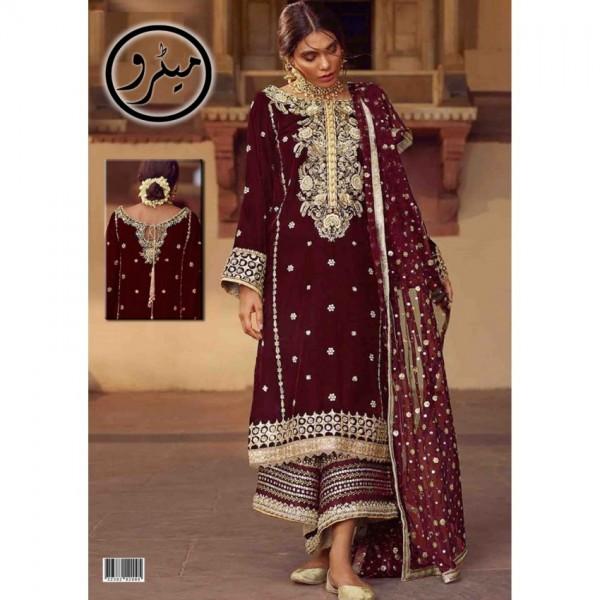Maroon Color Embroidered Velvet Dress