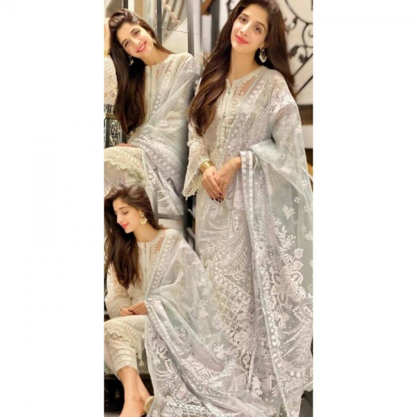 Elegant Organza Embroidered Dress in Grey Colour