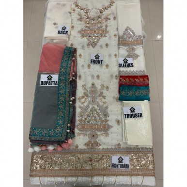 Luxury collection Full suit on CHIFFON with ORGANZA DUPATTA