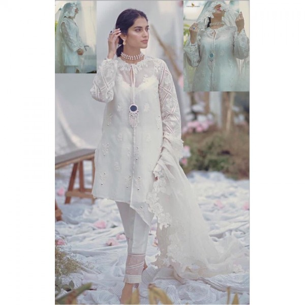Beautiful White Dress with Mirror Work for Ladies