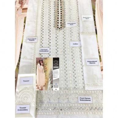 WHITE GOLD Premium chiffon Embroidery dress