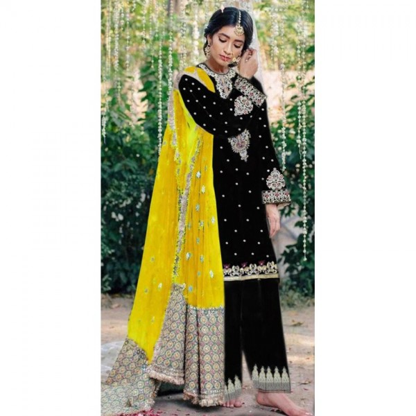 Black Color Embroidered Dress with Yellow Dopatta