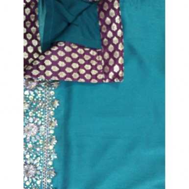 Silk Party Wear with Gotapatti Work with Silk Trouser and Silk Dupatta