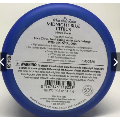 Bath and Body Works MIDNIGHT BLUE CITRUS Apple 3-Wick Scented Candle 14.5 oz / 411 g BBW