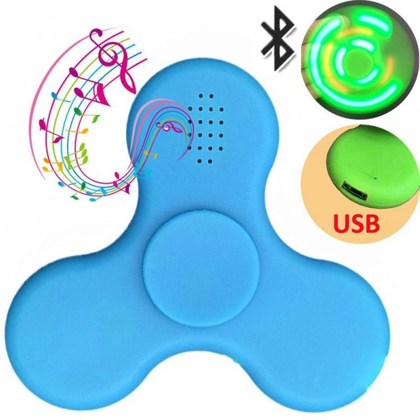 2PCS MINI Bluetooth Fidget Spinner with LED Light Hand Audio Wireless Music Speaker Finger Toy
