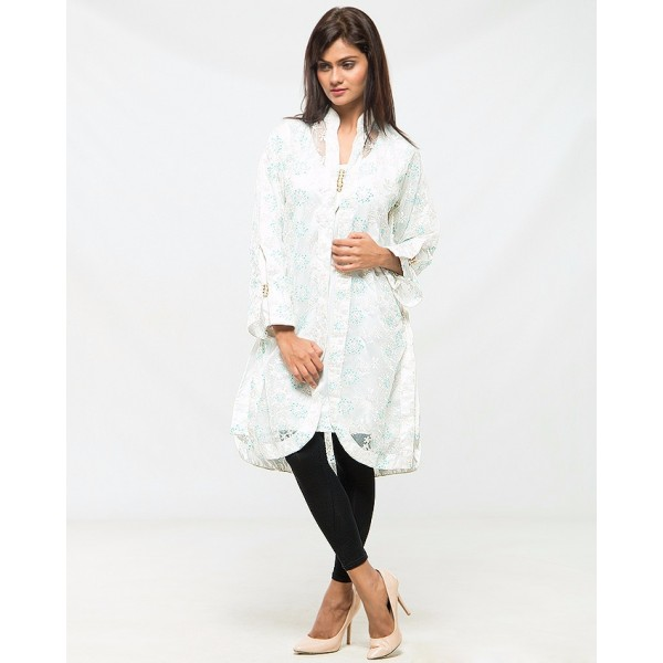 Party Wear Coat and Inner in White color for Women