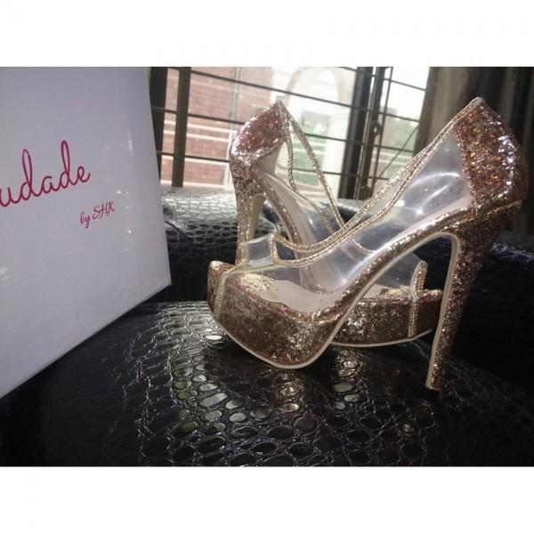 Women Golden heels louis vuitton style