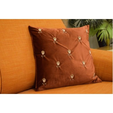 Maroon Embroidered Cushion Cover Set (Naqshi Work) with Table Runner and Tissue Box Cover
