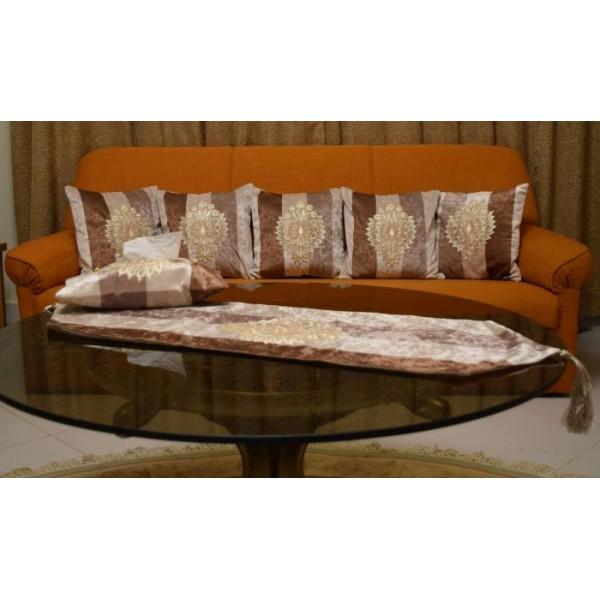 Striped Velvet Cushion Cover Set with Large Table Runner Tissue Box Cover
