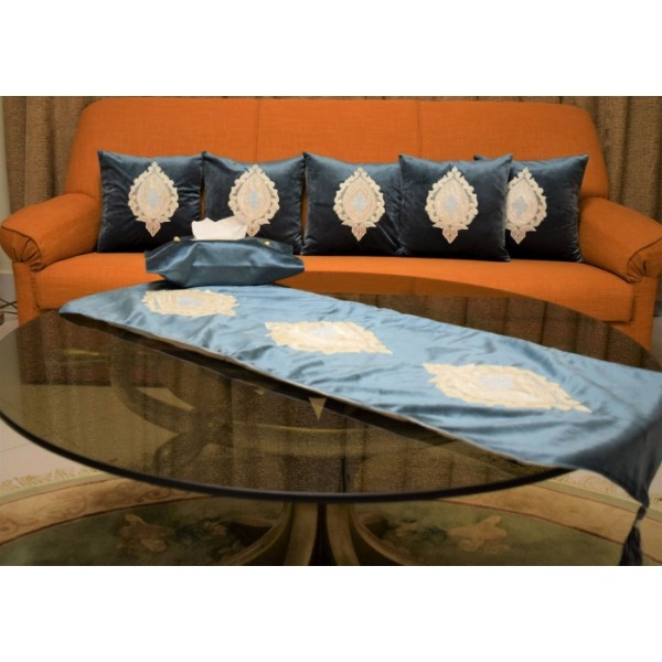 Blue Velvet Cushion Covers Set with1 Large Table Runner and Tissue Box Cover