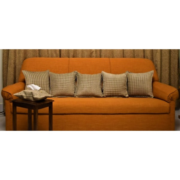 Polka Dotted Golden Cushion Covers Set