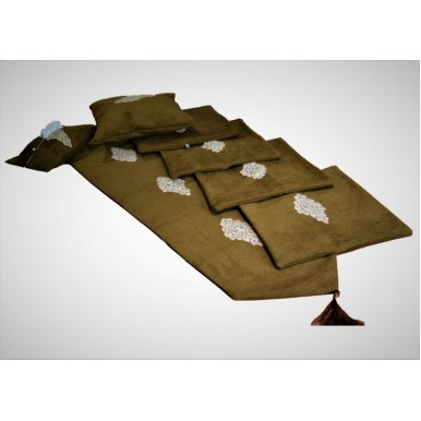 Brown Jute Cushion Covers Set with 1 Large Table Runner