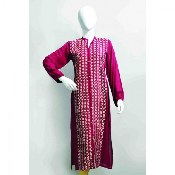 Shirt Full embroidered zigzag front for her - W002