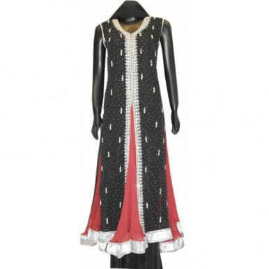 Beautiful FRESH STONE EMBROIDERY FROCK BLACK AND RED WEDDING DRESS A1